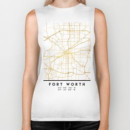 FORT WORTH CITY STREET MAP ART Biker Tank