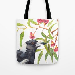 Australian Magpie and eucalyptus blossoms watercolour painting Tote Bag