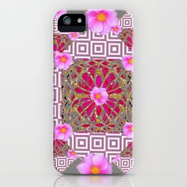 Grey Abstract Pink Roses Floral Pattern iPhone Case