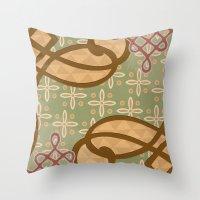 art nouveau Throw Pillows featuring Art Nouveau by Nacho Filella Design