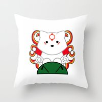 okami Throw Pillows featuring Baby Okami by Murphis the Scurpix