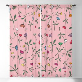 Pink Flower Toss Blackout Curtain