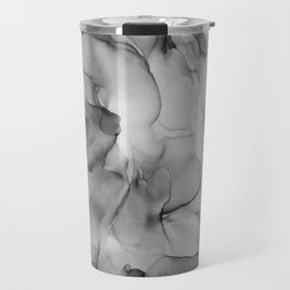 Black and White Marble Ink Abstract Painting Travel Mug