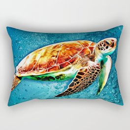SEA TURTLE SWIMMING Rectangular Pillow