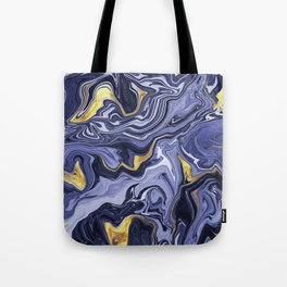 Indigo and Gold Melted Marble Tote Bag