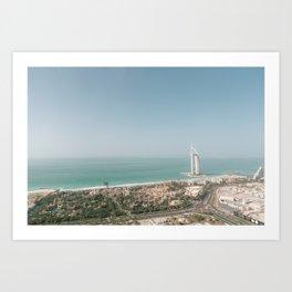 Burj Al Arab from Dubai skies | Travel photography art print photo Art Print