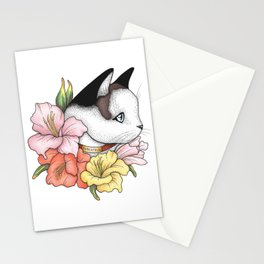 Cat Portrait in Gladiolus Flowers (Pink Edition) Stationery Cards