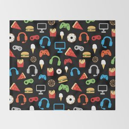 Video Game Party Snack Pattern Throw Blanket