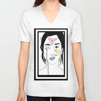 murakami V-neck T-shirts featuring Norwegian Wood by Primary Color