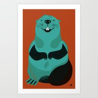 beaver Art Prints featuring Beaver by The Little Friends of Printmaking