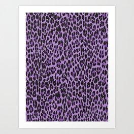 Animal Print, Spotted Leopard - Purple Black Art Print