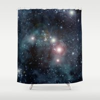 outer space Shower Curtains featuring Outer Space by apgme