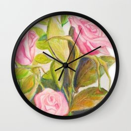 Late Spring Roses Wall Clock