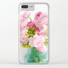 Dreamy Shabby Chic Ranunculus Peonies Roses Print - Spring Summer Garden Flowers Mason Jar Clear iPhone Case