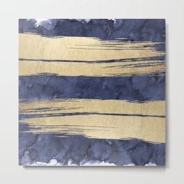 Artistic Navy Blue Gold Watercolor Brushstrokes Metal Print
