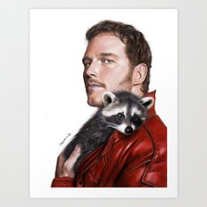 Drawing of Star-Lord and Baby Raccoon Art Print