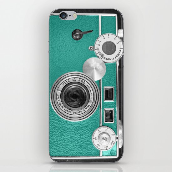 Teal retro vintage phone iPhone Skin