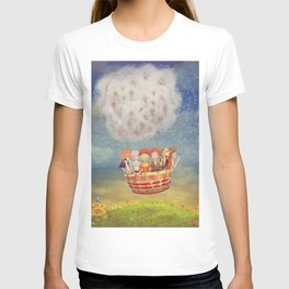 Happy children in the   air balloon in the sky - illustration art T-shirt
