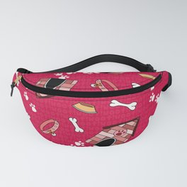 Doggy Paradise on Red Fanny Pack