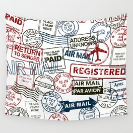 Vintage Postmarks Pattern Wall Tapestry