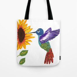 The Sunflower And The Hummingbird Tote Bag