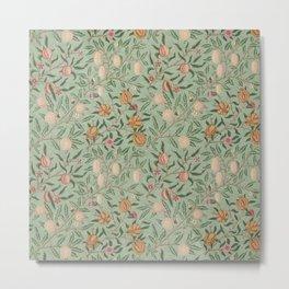 William Morris Vintage Fruit Sage Green  Metal Print