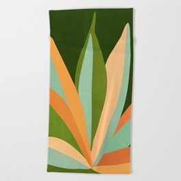 Colorful Agave / Painted Cactus Illustration Beach Towel