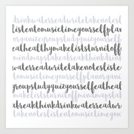 Friendly Study Reminders and Tips Art Print