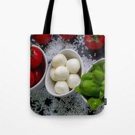 Trio of tomatoes basil fresh mozzarella Tote Bag
