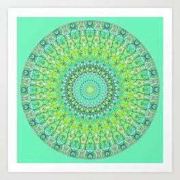 Green Geometric Mandala 0118 Art Print