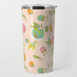 Bright colorful summer florals on blush pink Travel Mug