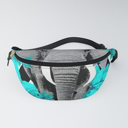 ELEPHANT and HARLEQUIN BLUE AND GRAY Fanny Pack