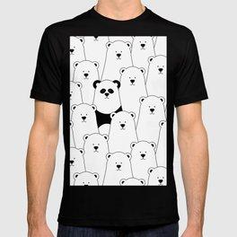 Polar bear and panda cartoon T-shirt