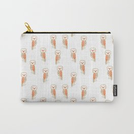 Cute hand painted white orange ivory watercolor owls Carry-All Pouch