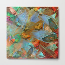 """Tropical Spring and butterflies"" Metal Print"