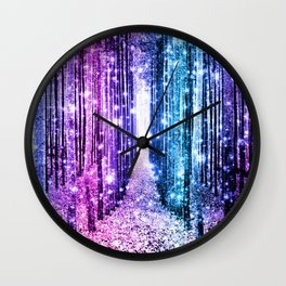 Magical Forest : Aqua Periwinkle Purple Pink Ombre Sparkle Wall Clock