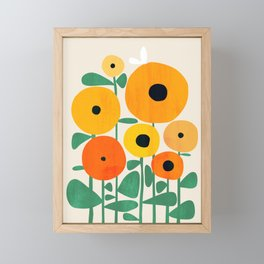 Sunflower and Bee Framed Mini Art Print
