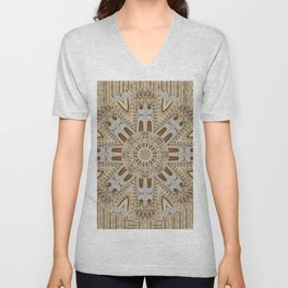 wood and wood with hearts and more wood ornate Unisex V-Neck