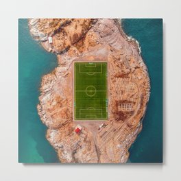 Soccer Field on a Remote Island - Aerial Photography Metal Print