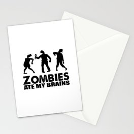 zombies ate my brains Stationery Cards