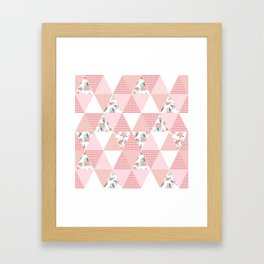 Quilt quilter cheater quilt pattern florals pink and white minimal modern nursery art Framed Art Print