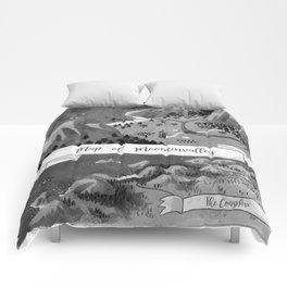 Moominvalley Map interpretation (Black & White) Comforters