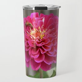 Bee on Zinnia Travel Mug