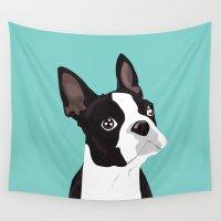 boston terrier Wall Tapestries featuring Boston Terrier Portrait - Blue by Sian Murray Art