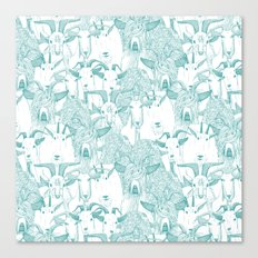 just goats teal Canvas Print