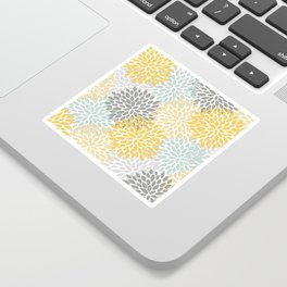 Floral Pattern, Yellow, Pale, Aqua, Blue and Gray Sticker