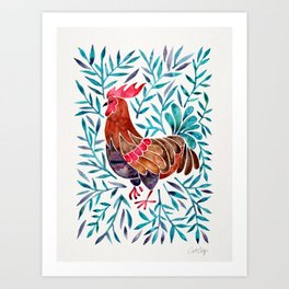 Le Coq – Watercolor Rooster with Turquoise Leaves Art Print
