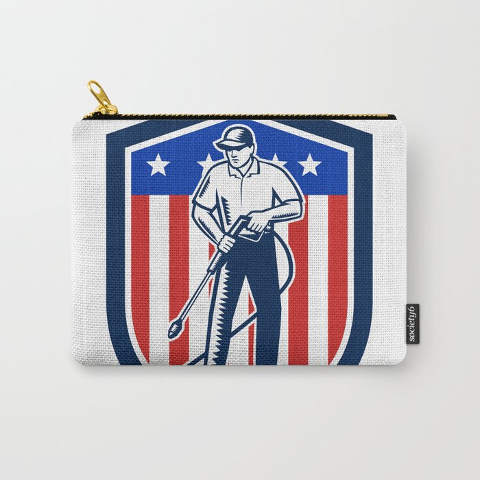 American Pressure Washing USA Flag Shield Retro Carry-All Pouch