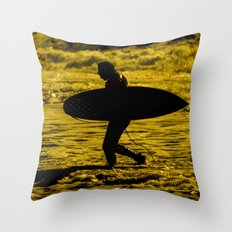 Surfer Silhouette  Throw Pillow