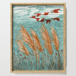 Geese Flying over Pampas Grass Serving Tray